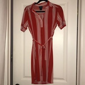 Red and white striped tie dress
